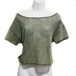 WE THE FREE Crochet Style Knit Wide Neck Boho Tee